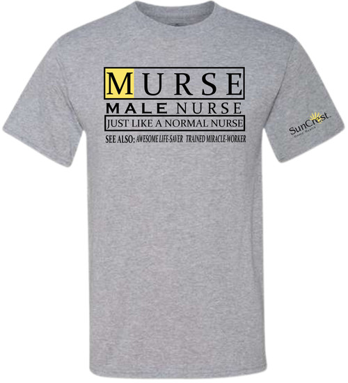 CELEBRATE YOUR MALE NURSE!  HE WILL LOVE THIS EXTRA SOFT SHIRT WITH HIS TITLE!  OUR SHIRTS ARE DIGITALLY IMPRINTED AND ARE NOT HEAT PRESS VINYL.  UNISEX SHIRTS THAT ARE TRUE TO SIZE!