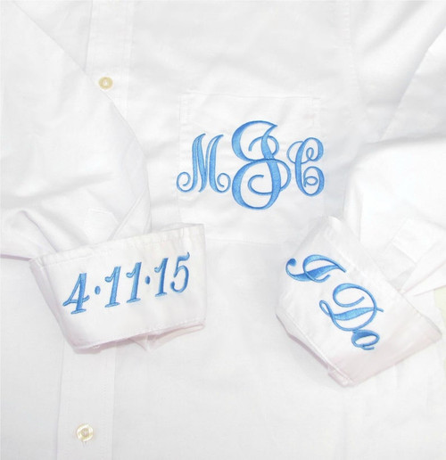 """Monogrammed Brides sHIRT Our Classic Button Down is the perfect Practical and Personal Bridal Gift. Adorned with Top Quality Embroidery, its Personal and Unique! Button Down Front eliminates the risk of Hair and Make Up mishaps on the Big day of getting ready. Not only are these Stylish and comfy on the wedding day, but they are cute and trendy with skinny Jeans on casual days, and great as a swim suit cover up on pool days. A super Unique and Personalized gift, perfect for Group Pictures, Necessary for """"getting ready"""", and Useful for everyday. It doesn't get much better than that....  • Monogram: EMBROIDERED  • Sizing runs: LARGE ON WOMEN** • Material: 55% Cotton 45% Polyester • Long sleeve CLASSY MEN'S* button down dress shirt • This is a man's size shirt so order accordingly** • Pocket monogram is included in price • BRIDES: Be sure to use your new married name! • Easy care, stain & wrinkle-resistant, two-button adjustable cuffs • Shirt is meant to be oversized & pocket will be sewn shut • Each item is made just for you!"""