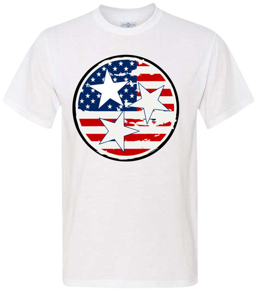 Just in time for the 4th of July, this brand new tee will let you show off your American pride! Featuring white lettering and two stars, this shirt is perfect for all of your backyard events and neighborhood block parties! The material is lightweight and so easy to throw on for an afternoon of relaxing! Just pair it with shorts and sandals before you head out - you'll be the star of every 4th of July party in this shirt!  Please note that this shirt does not print white, so the color of the shirt will show through.  White shirts with this design show the white.