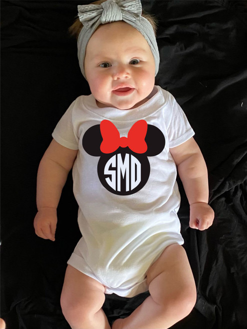 Your Little Girl will Look Adorable in this Monogrammed Minnie Mouse Onesie!  This is not Heat Press Vinyl!  It is digitally imprinted and will not fade or crack!  Best Price and Best Quality!