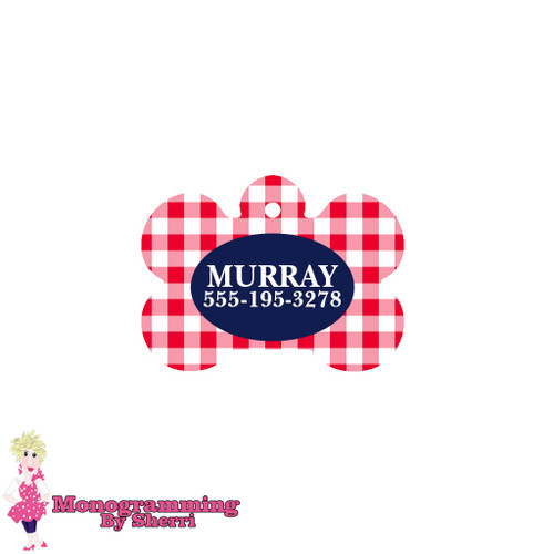 Personalized Red Gingham Bone Pet Tag