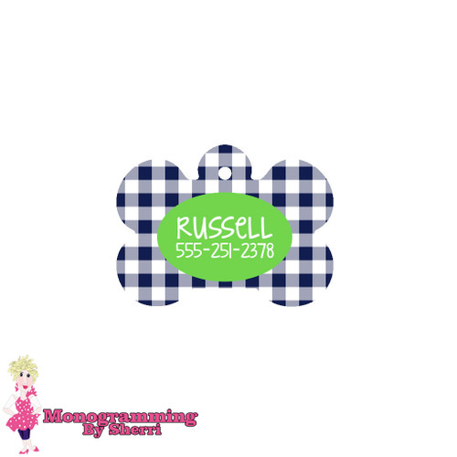 Personalized Navy Gingham Bone Pet Tag