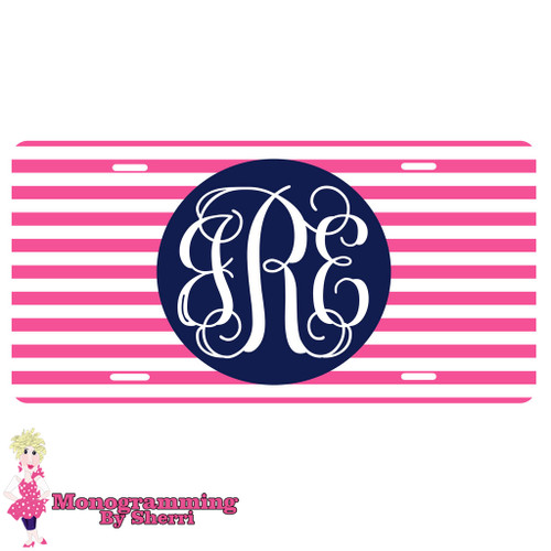 Personalized License Plate Pink Stripe