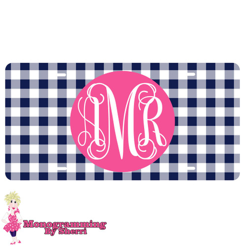Personalized License Plate Navy Gingham