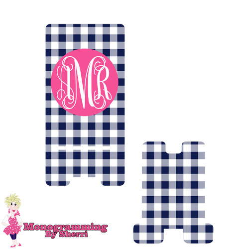 Navy Gingham Personalized Phone Stand
