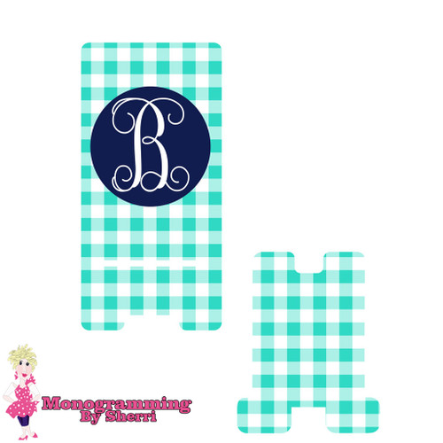 Mint Gingham Personalized Phone Stand