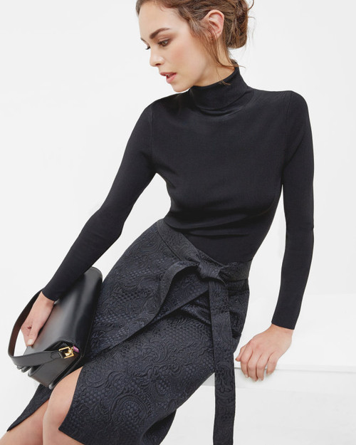 Ted Baker SOLOAA Jacquard Wrap Skirt Black