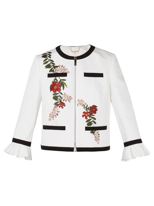 Ted Baker AIMMII Embroidered Ruffle Neck Jacket