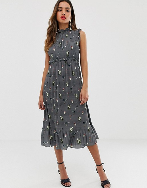 Ted Baker Toppaz- Oracle Pleated Smock Dress-Grey