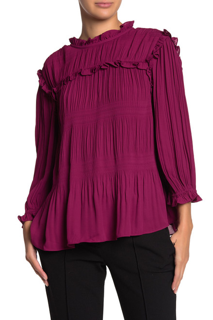 Ted Baker Airlie Pleated Smocking High Neck Top Deep Pink
