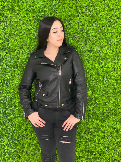 Azz Trading Biker Jacket with Zipper Sleeves