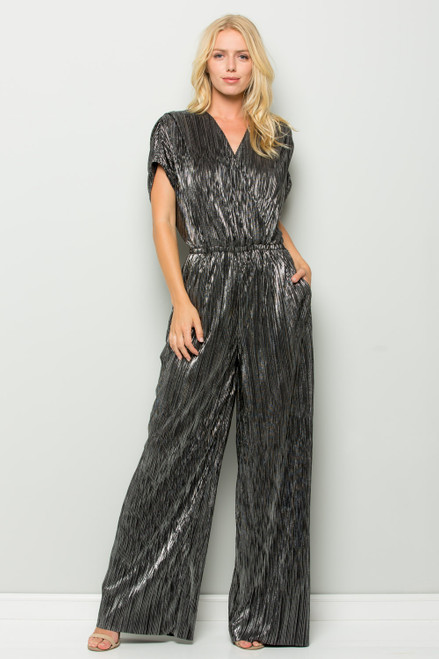 Seen and Be Seen Metallic Ribbed Jumpsuit