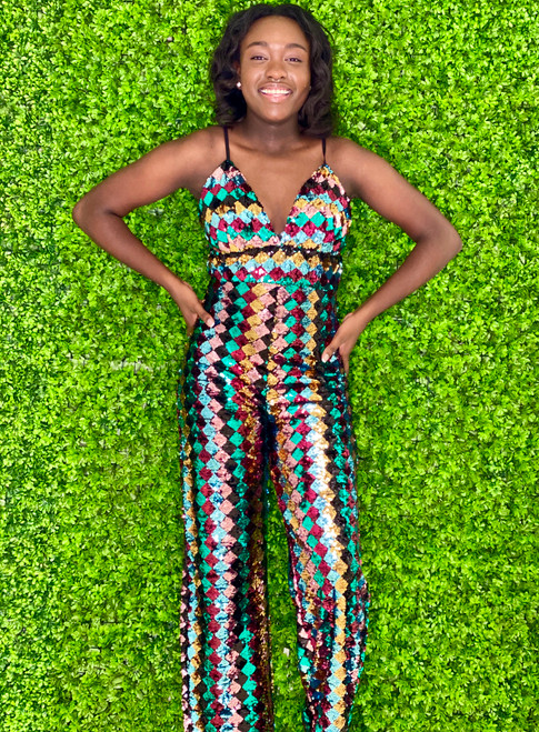 Wow Couture Sequined Wide Legged Jumpsuit