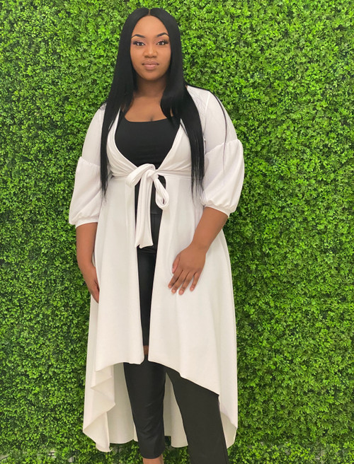 Dorcas Front Tie Puff Sleeve Maxi Cover Up