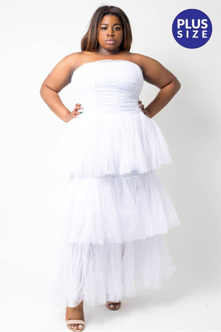 J2 Fashion Strapless Tiered Layered Ruched Dress