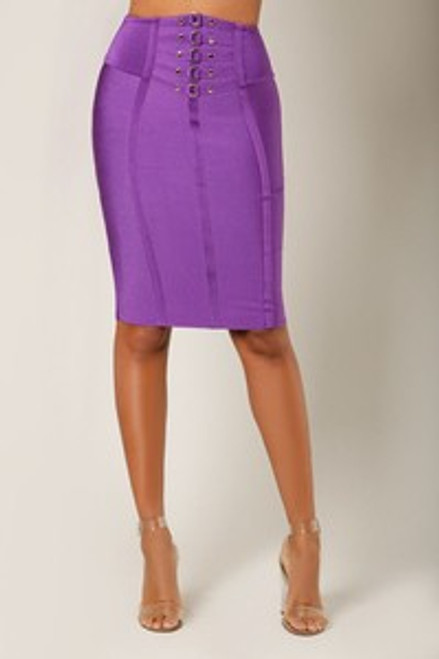 Wow Couture Metal Fixture Bandage Pencil Skirt