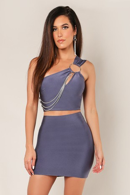 Wow Couture One Shoulder Chain Detail Crop Top