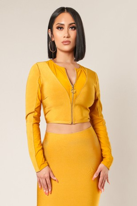 Wow Couture Semi Sheer Side Front Zippered Bandage Crop Top Jacket