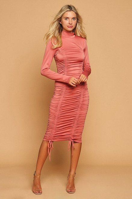 Hearts & Hips Ruched Mock Neck Midi Dress Bodycon Dress
