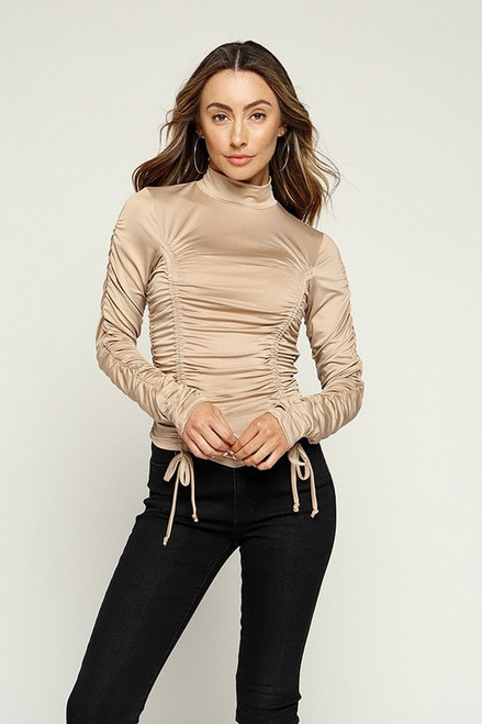 Ruched Mock Neck Top Knit Fitted Top