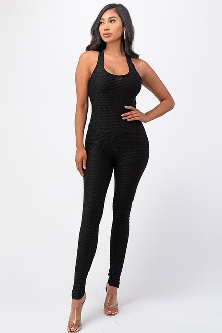 Solid Butt Lifted Bodycon Jumpsuit with Crossed Back