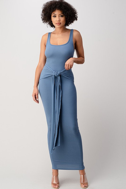 Blue S Ribbed Scoop Neck Tie-Up Bodycon Maxi Dress