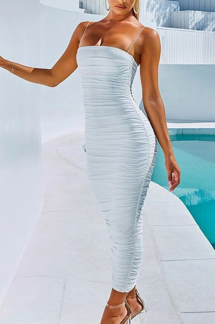 Solid Color Ruched  Zipper Back Bodycon Maxi Dress