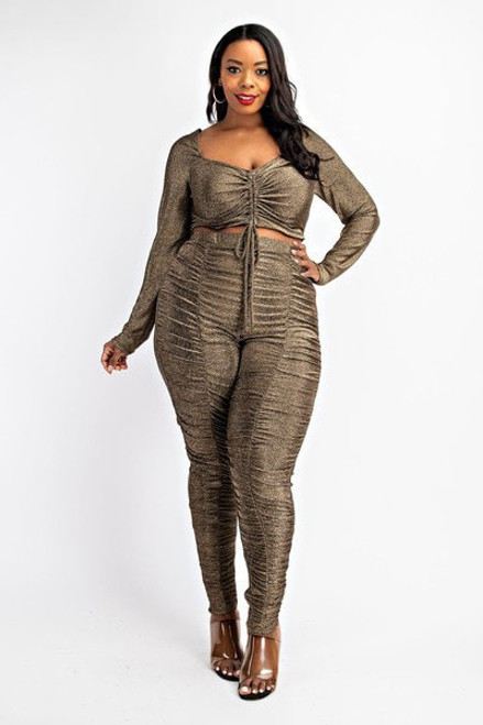 Ruched Front Crop Top And Ruched Legging Set