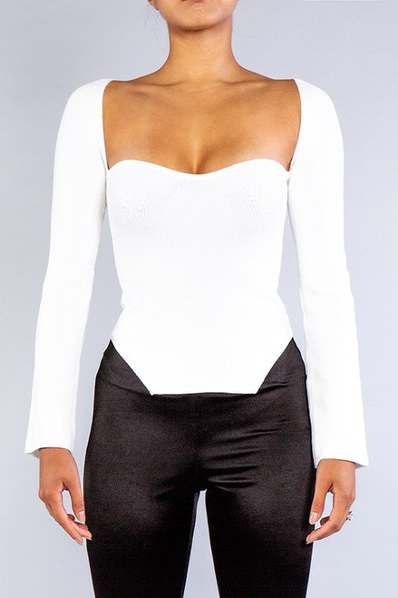 Rehab Lab Sweetheart Square Neckline Sweater Knit Top