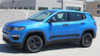 front angle of blue Jeep Compass Rocker Decal Stripes COURSE ROCKER Decals 2017 2018 2019 2020