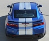 rear of blue 2018 Chevy Camaro Duel Stripes TURBO RALLY 2016 2017 2018