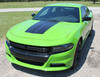 front of green 2018 Dodge Charger Port Hood Stripes CHARGER 15 HOOD 2015-2019