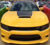 front of yellow 2018 Dodge Charger Port Hood Stripes CHARGER 15 HOOD 2015-2019