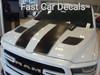 front angle of white 2019 Dodge Ram 1500 Racing Stripes RAM RALLY 2019 2020 2021