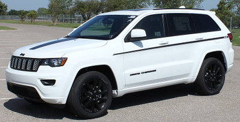 front angle of white 2019 Jeep Grand Cherokee Side Stripe PATHWAY 2011-2020