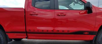 side of red NEW! 1500 4x4 Chevy Silverado Lower Stripes ROCKER 1 2019 2021