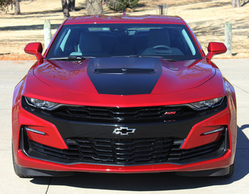 front of 2019 Chevy Camaro Hood Stripes Vinyl Decals SHOCK HOOD