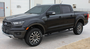 front angle of black 2019 Ford Ranger Decals UPROAR SIDE KIT 2019-2021
