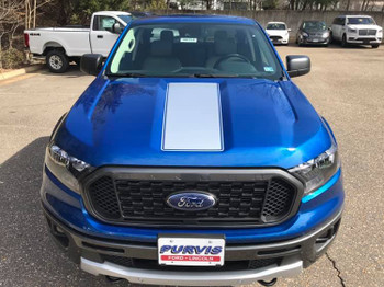front of blue 2019 Ford Ranger Hood Stripe Decals VIM HOOD 2019-2020