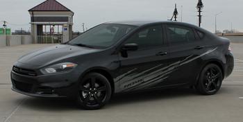 side of black Dodge Dart Side Door Stripes RIPPED DART 2013 2014 2015 2016