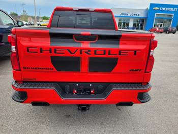 rear of red 2020 Chevy Silverado Rally Stripes BOW RALLY 2019 2020 2021