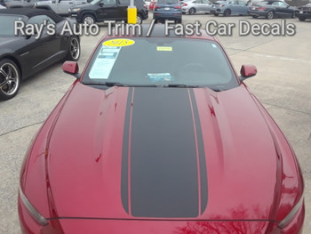 front of red Ford Mustang Center Wide Hood Stripes MEDIAN 2015 2016 2017
