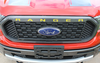 front view of 2020 Ford Ranger Grill Decals RANGER GRILL LETTERS 2019 2020 2021