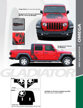 sales info on the OMEGA HOOD : Jeep Gladiator or Jeep Wrangler Hood Decals 2019-2021
