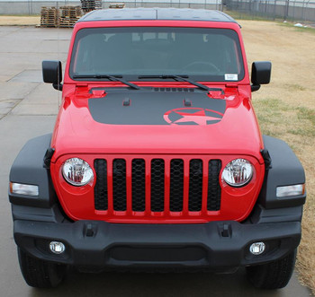 front of red OMEGA HOOD : Jeep Gladiator or Jeep Wrangler Hood Decals 2019-2021