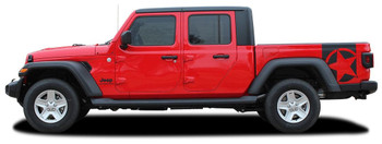 side of red BOOTSTRAP : Jeep Gladiator Side Star Graphic Decals 2020-2021