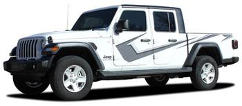 side of digital printed PARAMOUNT : 2020-2021 Jeep Gladiator Side Stripe Graphics Kit  (Solid or Digital Print)
