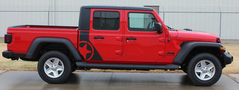 side of red OMEGA SIDES : Jeep Gladiator Side Door Star Decals Stripe 2020-2021