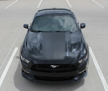 front of 2015 Ford Mustang Hood Stripes MEGA HOOD 2015 2016 2017