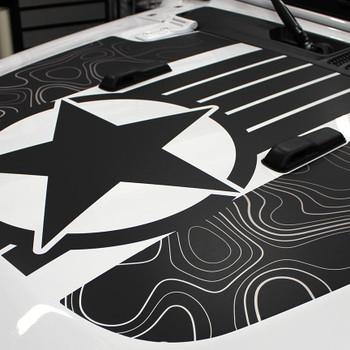 close up of digital print 2020 Jeep Wrangler/Gladiator Hood Decals JOURNEY HOOD JL 2018-2021